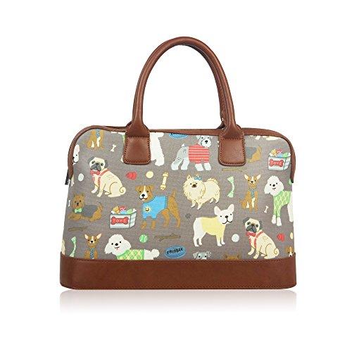 Womens Ladies hule perros bolsa de fin de semana de viaje bolsa de hombro bolso de mano para mujer gris