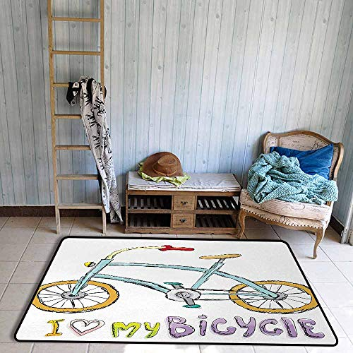 Interior Door Rug Bathroom Rug Slip Bicycle I Love My Bicycle Quote Print with A Little Fashionable Kids Bike with Pedals Cartoon Personality W67 xL79 Multi