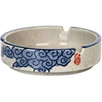 Bestonzon Cigarette Ashtray Ceramic Ash Tray Round for Home Office Hotel Restaurant Indoor Outdoor Tabletop Ashtray Blue