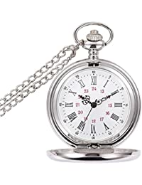 Classic Smooth Vintage Pocket Watch, Steel Men Pocket Watch with 14Chain,