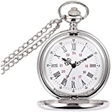 Powshop Classic Smooth Vintage Pocket Watch, Steel Men Pocket Watch with 14''Chain, Gift Box (White)
