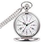 WIOR Classic Smooth Vintage Pocket Watch Sliver Steel Mens Watch with 14 in Chain for Xmas Fathers Day Gift (White)