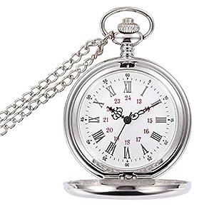 BestFire reloj de bolsillo Vintage reloj de bolsillo de cuarzo liso Classic reloj de bolsillo con cadena corta para hombres Mujeres – Caja de regalo para el cumpleaños Día de aniversario de Navidad Dí