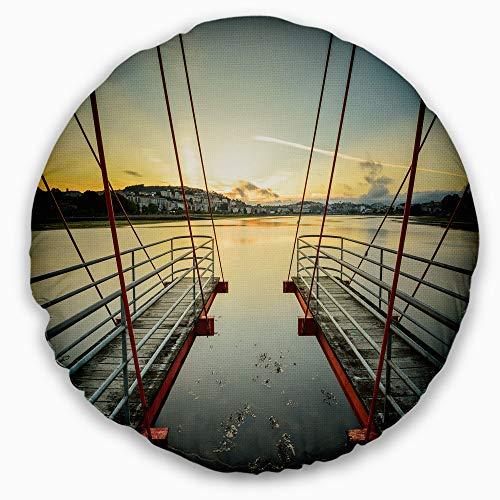 Designart CU9494-16-16-C Wooden Piers for Boats in Spain' Seashore Photo Throw Cushion Pillow Cover for Living Room, Sofa, 16'' Round, Pillow Insert + Cushion Cover Printed on Both Side by Designart