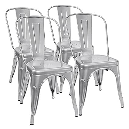 225 & Furmax Metal Dining Chair Indoor-Outdoor Use Stackable Classic Trattoria Chair Chic Dining Bistro Cafe Side Metal Chairs (Sliver)