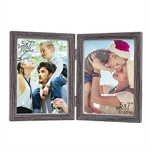Picture Mdf Frames - CECIINION 5x7 MDF Wood Photo Frame Shadow Box, Hinged Double Picture Frames,with Glass Front, Fit for Stands Vertically on Desk Table Top (for 5x7in Photos,Grey Color)