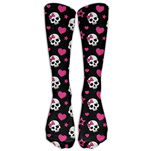 Love Skull Compression Socks Soccer Socks Crew Socks For Running, Medical, Athletic, Edema, Diabetic, Varicose Veins, Travel, Pregnancy, Shin Splints, -