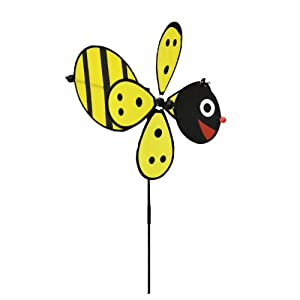 Home-X Bumble Bee Garden Wind Spinner, Decoration for the Garden, Flower Bed, Front or Backyard, Fun Loving Bee Design Looks Great in All Yards