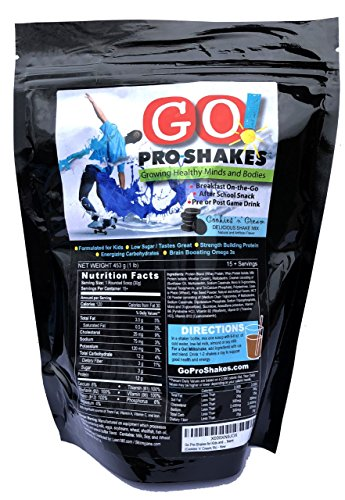 Best Tasting Protein Nutritional Shake for Kids and Teens - Healthy Energizing Snack - Milkshake Smoothie Taste - Low Sugar - Fiber - B Vitamins - Dietitian Approved (Cookies 'n' Cream) GO! Pro-Shakes