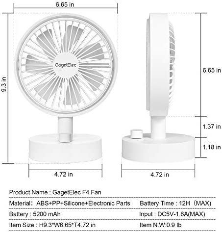 GagetElec USB Desk Fan 6.5 Inch 5200mAh Personal Fan with 10 Speeds Electric Portable Air Circulator Angle Adjustable Quiet Operation Oscillating fan for Table Desktop//Home Office//Travel Black