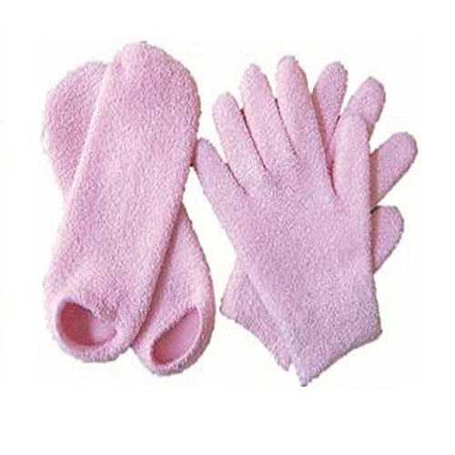 Moisturizing Gloves and Socks - Pink Soft Yarn Thermoplastic Gel Whitening Beauty Healthy Spa Skin Care Therapy Treatment Hydrating Gloves Socks, Gel Lining Infused with Essential Oils and Vitamins by Garrelett