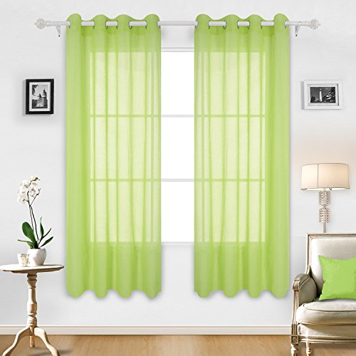 Deconovo Linen Look Sheer Curtains Panels With Grommets Top Voile Curtains  For Living Room 52W X 84L Inch Green 2 Panels Part 95