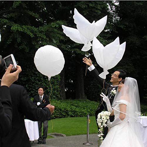 (NszzJixo9 10PCS Friendly Biodegradable Helium Balloons - 41inch Flying White Pigeon Birds Helium Balloons Peace Dove Wedding, Party Decoration Aluminum Foil Helium)