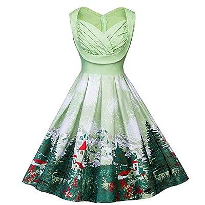 kaifongfu Plus Size Sleeveless Dress Christmas Print Women Dress