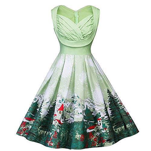 Prom Couture Special Occasion Dress - TOTOD Christmas Dress,Women Vintage Elk Snow Trees Printed Evening Xmas Elegant Retro Party Dresses (A - Green, 5XL/(US:20))
