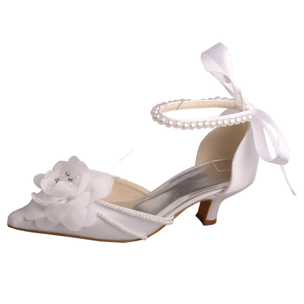 Wedopus MW448 Womens Pointed Toe Flower Low Heel Pearl Strap Bridal Shoes Wedding Size 6 WHITE