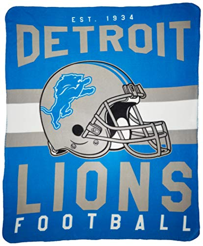 "The Northwest Company NFL Detroit Lions Singular Printed Fleece Throw, Blue, 50"" x 60"""