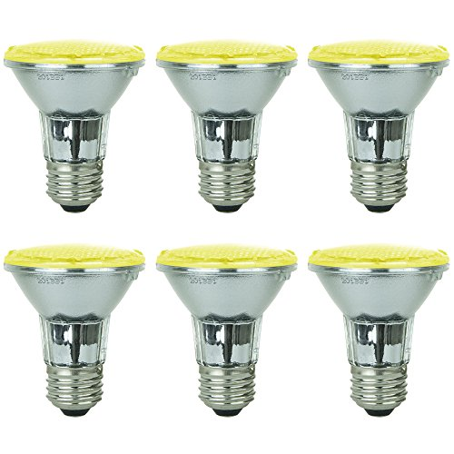 Life Led Lamps - Sunlite - Yellow LED PAR20 Reflector Light Bulb, 2 Watts, 120 Volts, Medium Base, 30,000 Hour Lamp Life, 30 Lumens, Narrow Flood, 30° Beam Angle, Energy Saving, Multi-Use, Indoor/Outdoor (6 Pack)