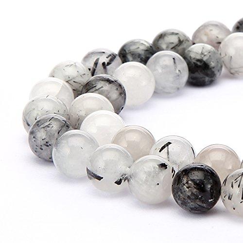 Rutilated Quartz Round Beads (BRCbeads Tourmalated Rutilated Quartz Natural Gemstone Loose Beads Round 8mm Crystal Energy Stone Healing Power for Jewelry Making- Black)