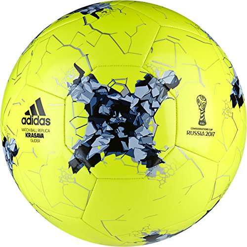 Fifa Confederations Cup (adidas Performance Confederations Cup Glider Soccer Ball, Solar Yellow/Easy Blue/Core Blue, Size 5)