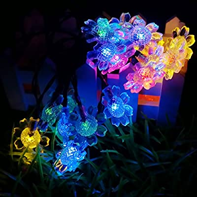 LED SopoTEK Solar Powered Christmas Light, 21ft 7 meters 50 LED Sunflower solar fairy String Lights for Outdoor, Gardens, Homes, Wedding, Christmas Party, Waterproof (50LED Multi-colored)