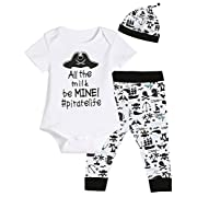 3PCS Baby Boys' Pirate Outfit Set Short Sleeve Bodysuit Cute Pants with Hat (3-6 Months)