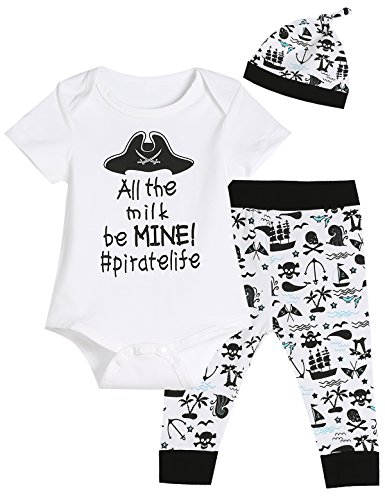 - 3PCS Baby Boys' Pirate Outfit Set Short Sleeve Bodysuit Cute Pants with Hat (12-18 Months)