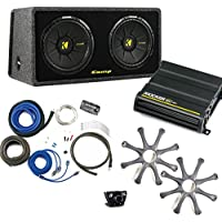 Kicker Bass package - Dual 10 CompS in a ported box with CX600.1 amplifier, wiring kit, grilles, and bass knob.