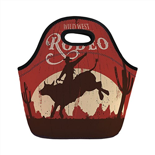 (Neoprene Lunch Bag,Vintage,Rodeo Cowboy Riding Bull Wooden Old Sign Western Wilderness at Sunset Image,Redwood Orange,for Kids Adult Thermal Insulated Tote)