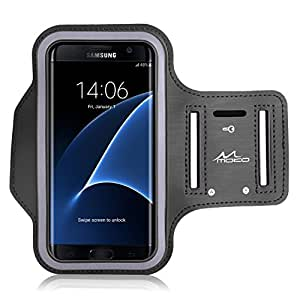 """Galaxy S7 Edge Armband, MoKo Sweatproof Sports Armband Exercise Running Arm Band Case for Samsung Galaxy S7 Edge, with Key Holder, Great Earphone Connection, Black (Fits Arm Girth 10.8""""-16.5"""")"""