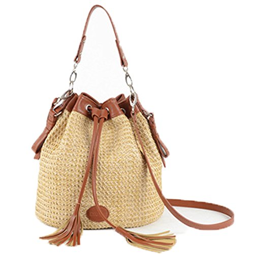 [FTSUCQ Tassels Handmade Crochet Straw Woven Shoulder Handbags Tote Beach Bag Satchels] (Billiard Girl Costume)