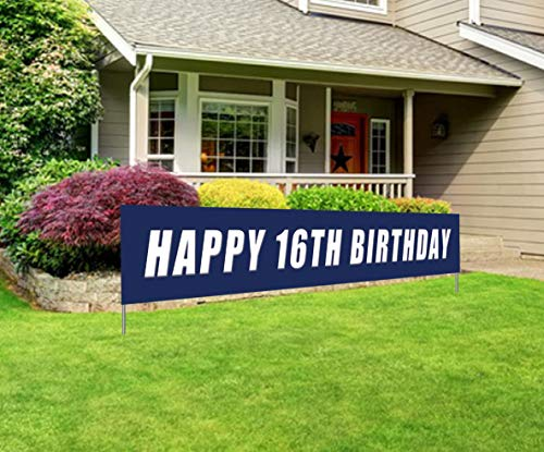 Blue Happy 16th Birthday Banner, Large 16th Birthday Party Sign, 16 Bday Party Supplies Decorations