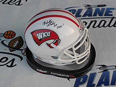 Mike White signed Western Kentucky WKU Hilltoppers mini helmet w/ Go Tops! COA