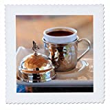 3dRose Danita Delimont - Food - Turkey, Anatolia, Nevsehir, Uchisar cafe, Turkish coffee. - 16x16 inch quilt square (qs_277004_6)