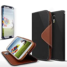 Galaxy S4 Active Case, Cellto PU Leather Wallet Cover Stand and Reversible Magnetic Flap [Lifetime Warranty] Flip Cover for Samsung Galaxy S4 Active - Black/Brown