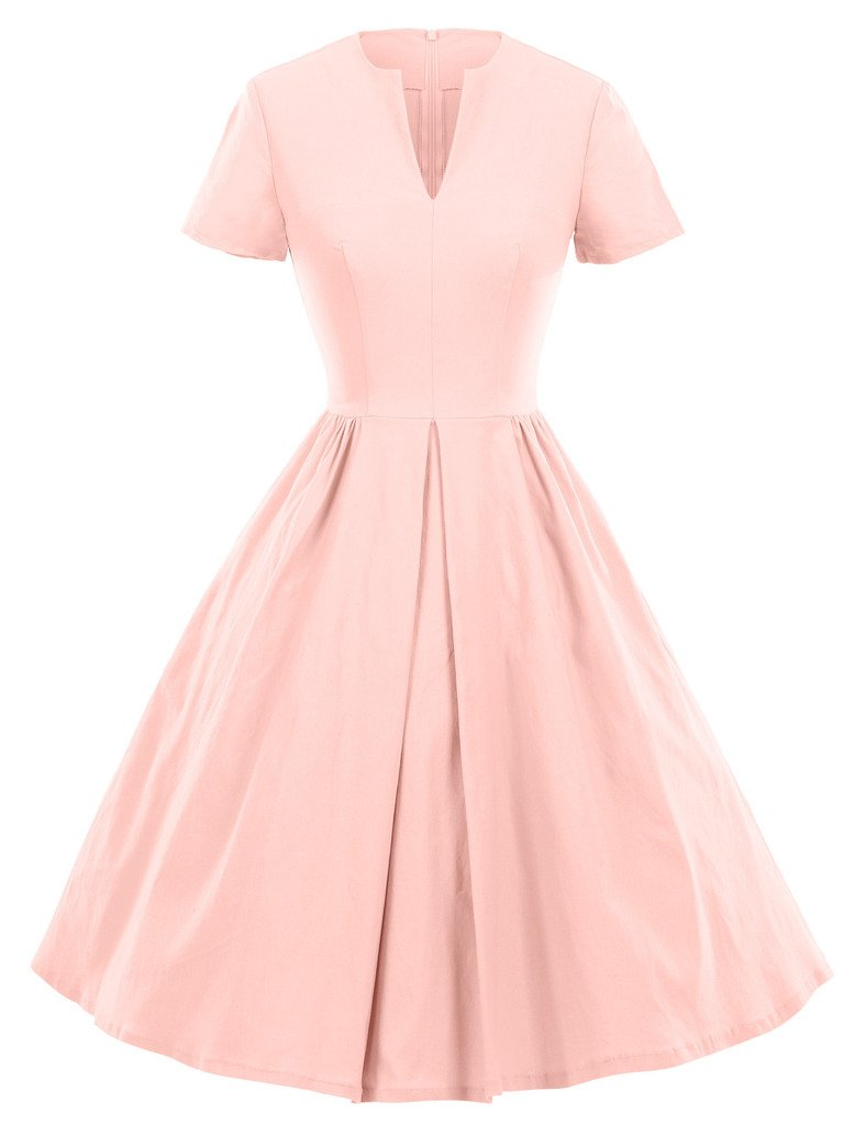 GownTown 1950s Vintage Dresses V-neck Short-sleeves Dresses Swing Stretchy Dresses, Small, Pink