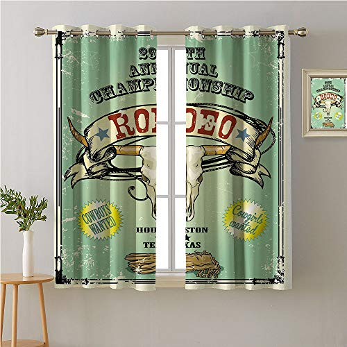 Jinguizi Western Grommets Curtain for Kids Room,Retro Style Rodeo Championship Poster Bull Skull Large Horns with Banner Grungy,décor Darkening Curtains,55W x 39L