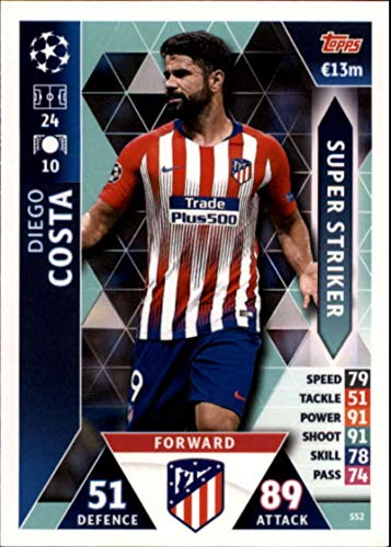 2018-19 Topps UEFA Champions League Match Attax Super Strikers #SS2 Diego Costa Club Atletico De Madrid Soccer Trading Card