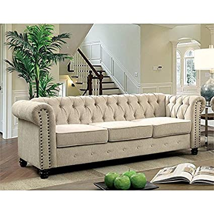 Amazon Com Furniture Of America Gabby Sofa In Ivory Kitchen Dining