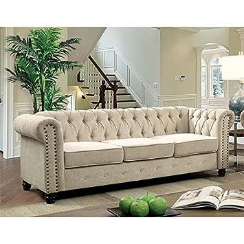Phenomenal Amazon Com Furniture Of America Gabby Sofa In Ivory Bralicious Painted Fabric Chair Ideas Braliciousco