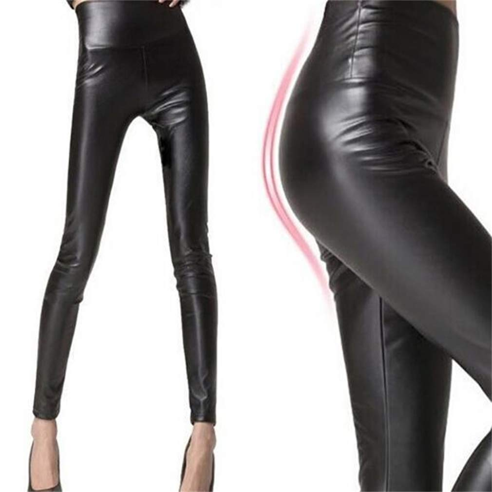 Ideal Gift Women's High Waist Trousers Slim Imitation Leather Leggings Pants (Color : Black, Size : XL) by Tuersuer (Image #1)