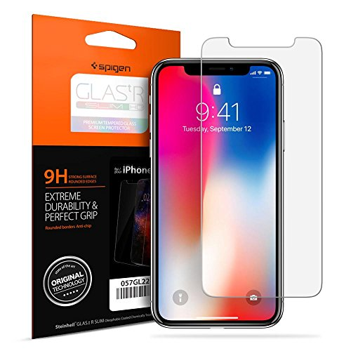 (Spigen Apple iPhone X Glas.tr Slim HD Premium Tempered Glass Screen Protector with Oleophobic Coating - Clear)