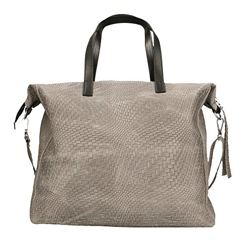 Woman Shoulder Bag With Large Handles Braided Pattern Genuine Leather Made In Italy 36x36x13 Cm