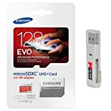Samsung Evo Plus 128GB MicroSD XC Class 10 Mobile Memory Card for Samsung Galaxy Tab A E S2 9.7 8.0 inch A8 J5 Xcover 3 J1 Core Prime Note Edge 4 & SD Memory Card Reader