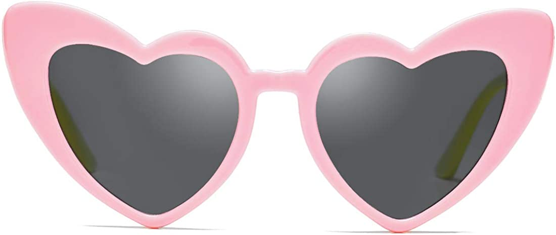 COASION Kids Polarized Heart Shaped Sunglasses TPEE Rubber Flexible Shades for Little Girls Age 3-12