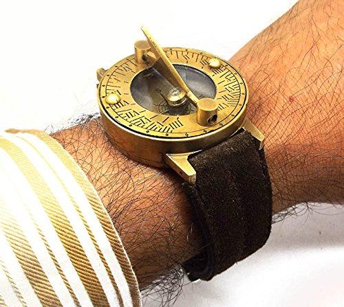 discountzworldスチームパンクレトロソリッド真鍮日時計コンパス腕時計W Roughパイオニアスタイルスエードレザーブレスレット B07BZDDNTB