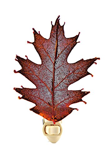 Night Copper Lights Iridescent - The Rose Lady Iridescent Copper or 14kt Gold Dipped Real Oak Leaf Nightlight -Made in USA (Copper)