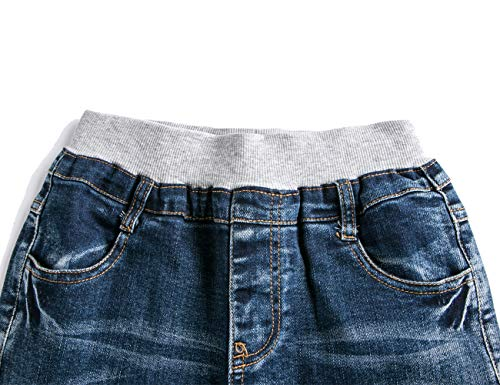 0dc4c63dac WIYOSHY Boys' Skinny Elastic Waist Denim School Jeans Pull On Cotton Pants  (Denim Blue, 130 (Size 8))