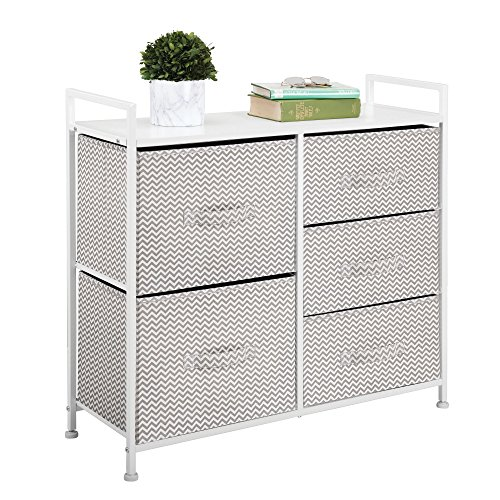 mdesign wide dresser storage tower - sturdy steel frame, wood top, easy pull fabric bins - organizer unit for bedroom, hallway, entryway, closets - chevron print - 5 drawers, taupe/natural/white