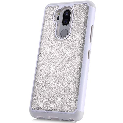 PHEZEN Case for LG G7, LG G7 ThinQ Case Glitter,Women Girl Glitter Sparkle Bling Heavy Duty Defender Full-body Protective Hard Shell Shockproof Soft Silicone TPU Bumper Case Cover for LG G7, Silver